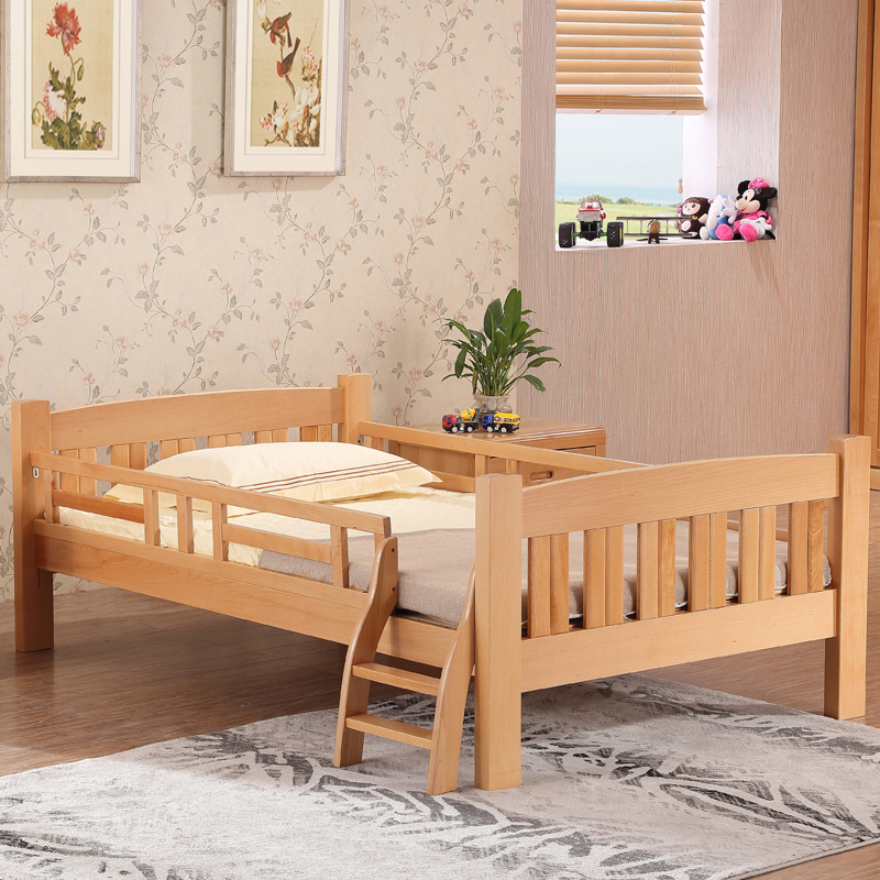 Pure beech wood bed children bed furniture beds 1 m bed children's bed with guardrail crib wood bed boys and girls