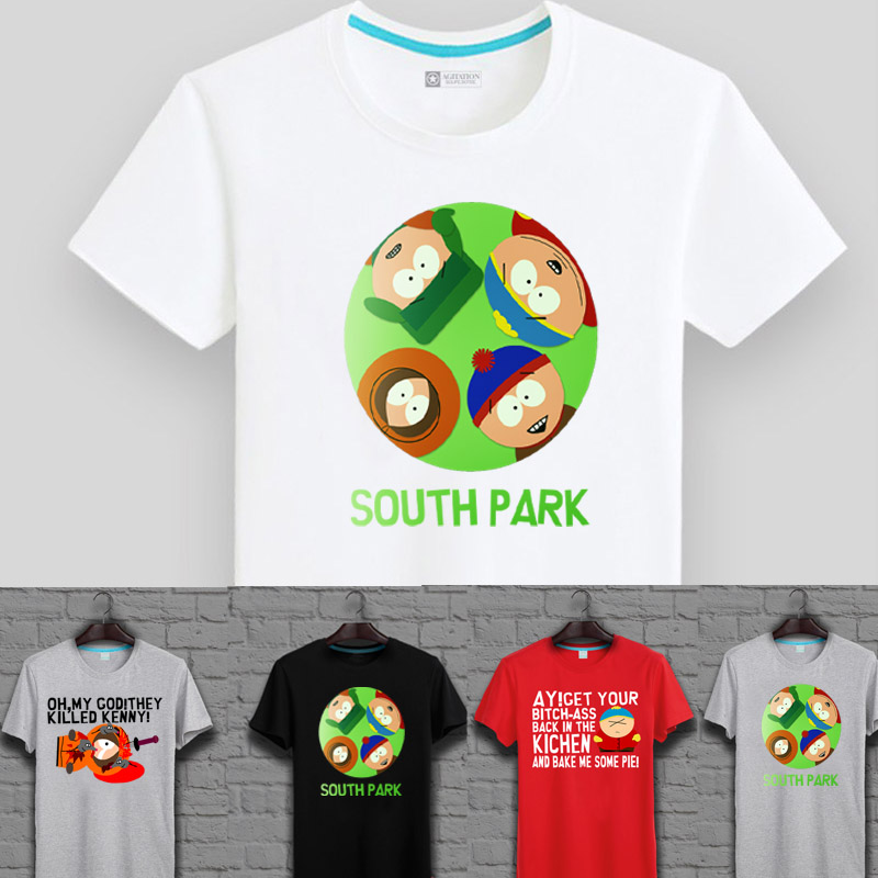 Pure cotton short sleeve t-shirt summer cartoon south park southpark cartman european and american casual sweater