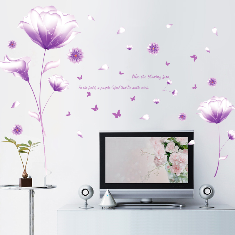 Purple fantasy flower romantic bedroom bedside wall stickers living room sofa tv background wall decoration sticker sticker