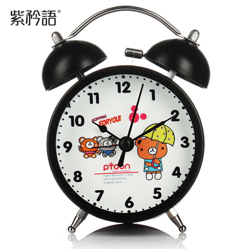 Purple language boast candy color cartoon fashion creative alarm clock night light luminous double child student bedside alarm clock
