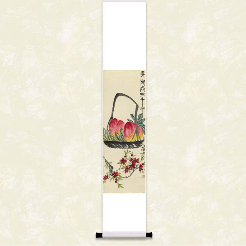 Qi baishi three thousand peach figure painting boutique public art hanging scroll calligraphy and paintings decorate the living room den restaurant gift