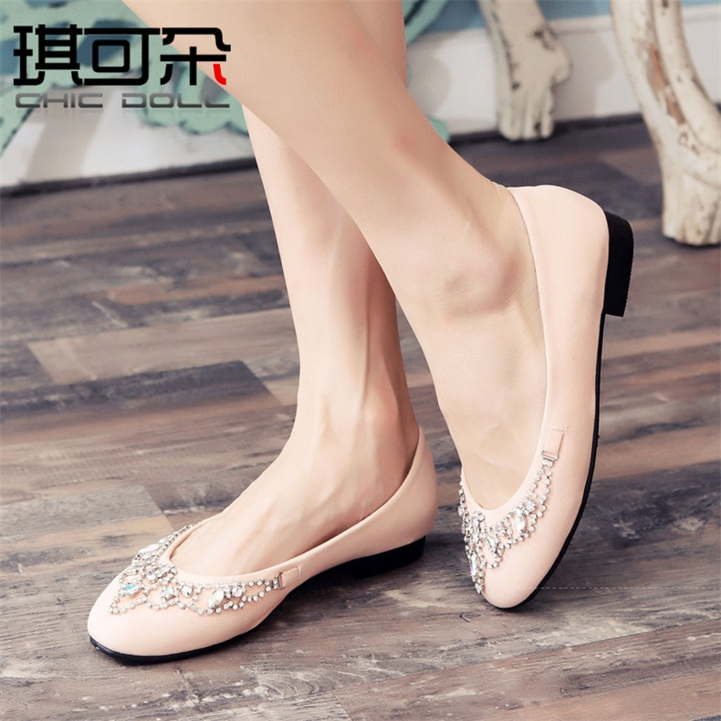 Qi can flower in 2016 summer new sweet singles shoes comfortable shoes korean flat shoes wild round diamond