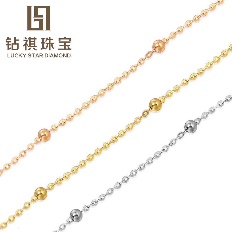 Qi diamond shining stars paragraph k gold necklace gold color gold jewelry female models cross pendant in sterling silver chain necklace beads between