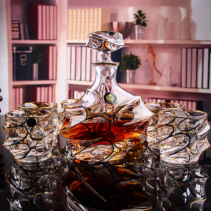 Qi jiantao suit crystal wine glass whiskey bottle wine bottles wine bottle storage wine bottles decanters