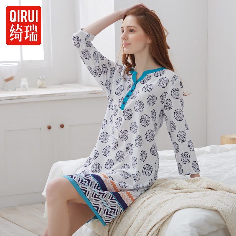 Qi rui qi rui pajamas nightgown female spring and autumn long sleeve thin section of national wind female nine points sleeve nightdress summer tracksuit