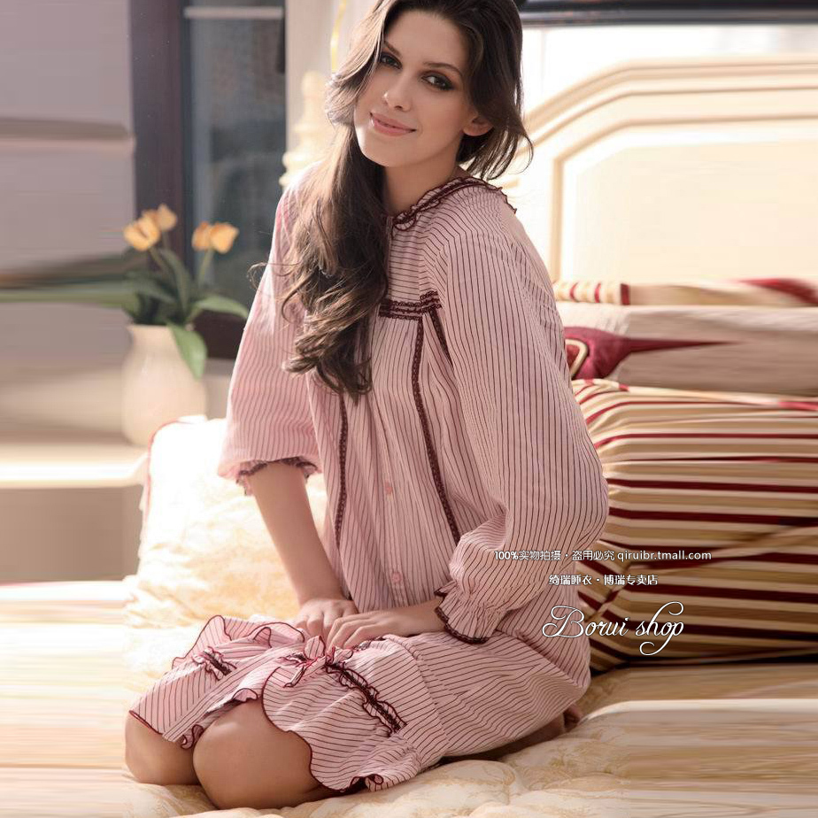 Qi rui tracksuit 2016 spring and autumn new women long sleeve pajamas female open body woven cotton nightgown female striped dress