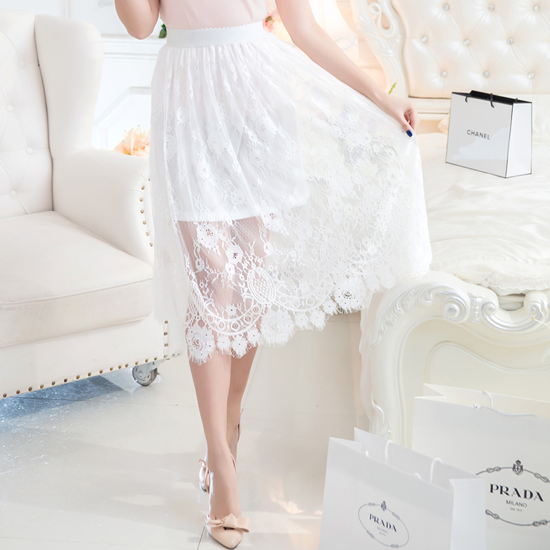 Qian fei mei 2016 spring and summer new korean large size women openwork lace dress was thin a word skirt in skirts