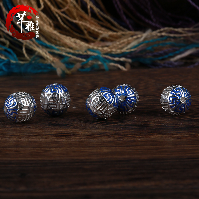 Qian ya 925 word blessing silver drip disciple beads diy beads loose beads spacer beads tibetan prayer beads bracelet accessories accessories