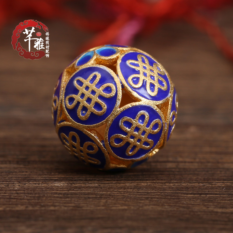 Qian ya ethnic style handmade 925 silver filigree enamel enamel spacer beads jewelry accessories diy loose beads hand chain