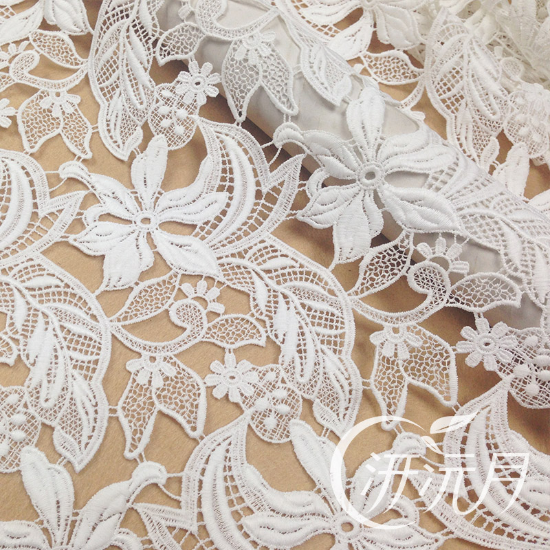 Qian yuan month soluble milk silk lace stenciling thehigh white heavy embroidery three-dimensional flowers fabric