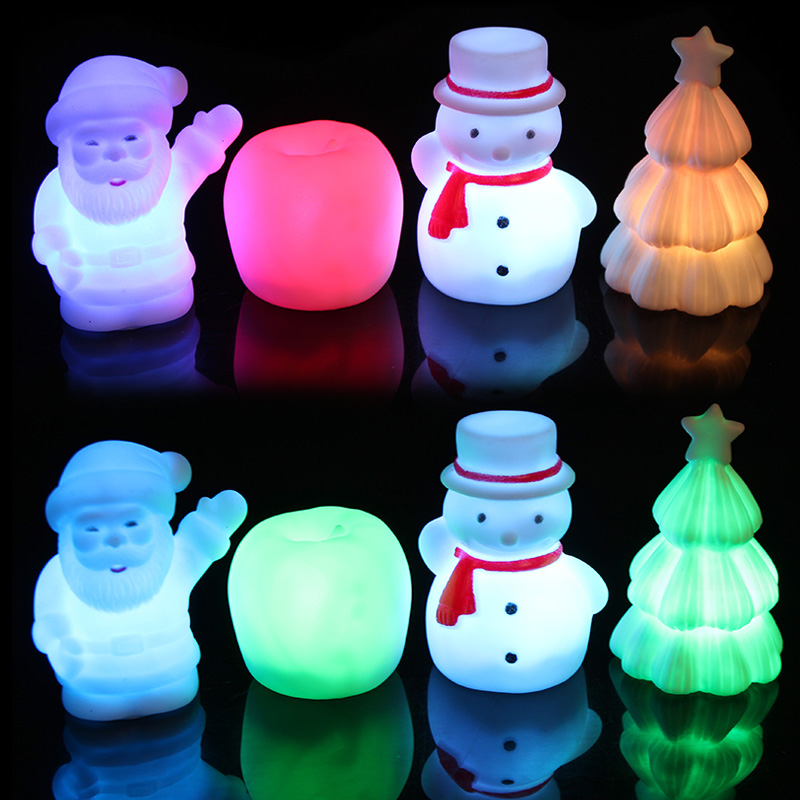Qiao shi ting apple christmas decorations santa claus christmas snowman night light colorful night light variety of optional