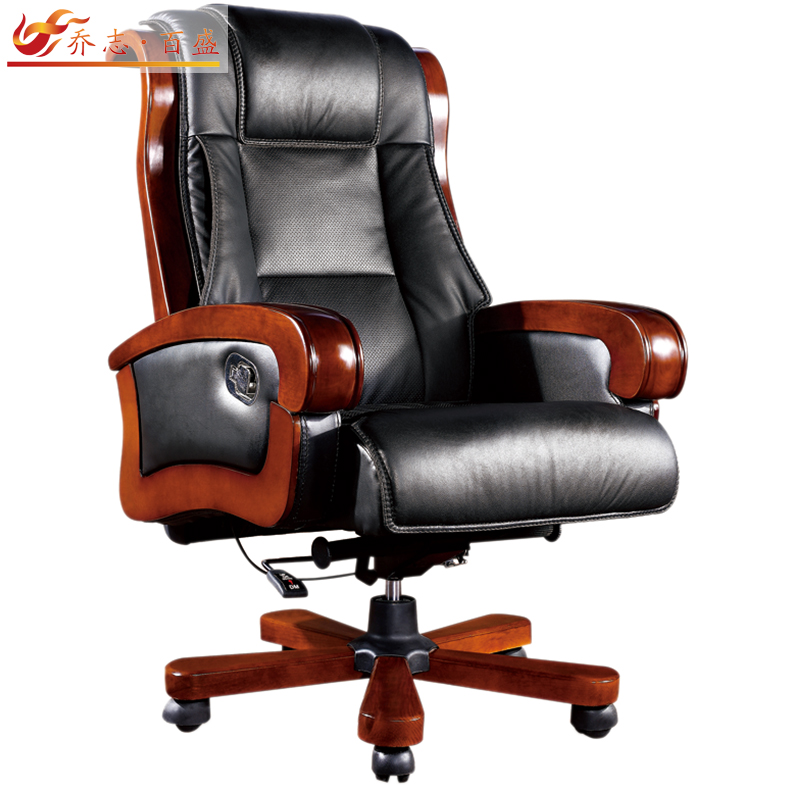 Qiaozhi parkson genuine leather ceo boss reclining chair multifunction chair wood chair office chair 9100
