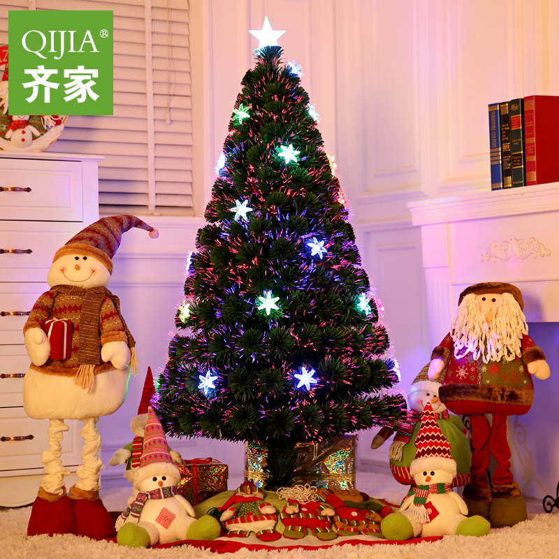 Qijia 1.5 m fiber optic christmas tree christmas flower charged luminous christmas tree christmas dress supplies fiber optic tree