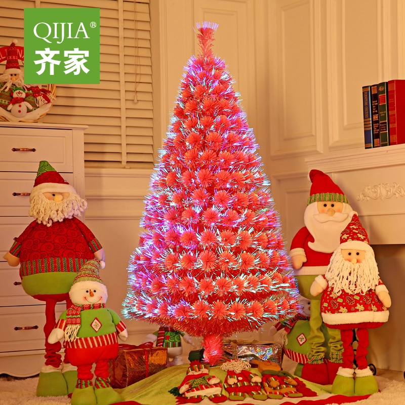Qijia 1.5 m pink charged luminous christmas tree christmas tree christmas dress supplies fiber optic tree