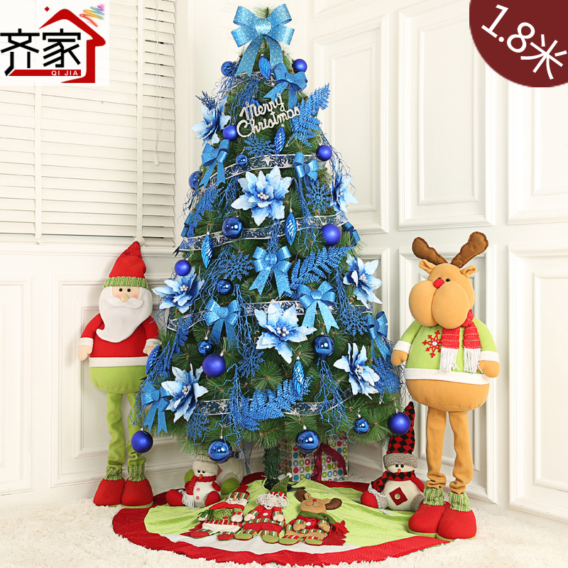 Qijia blue series 1.8 m large christmas tree decorated pine needles christmas tree decorations package