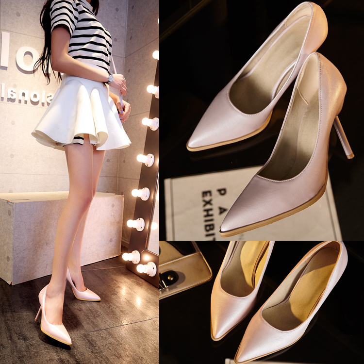 Qin hui spring sexy nightclub fine with pointed shoes women high heels women shoes size code head shallow mouth set foot lazy shoes