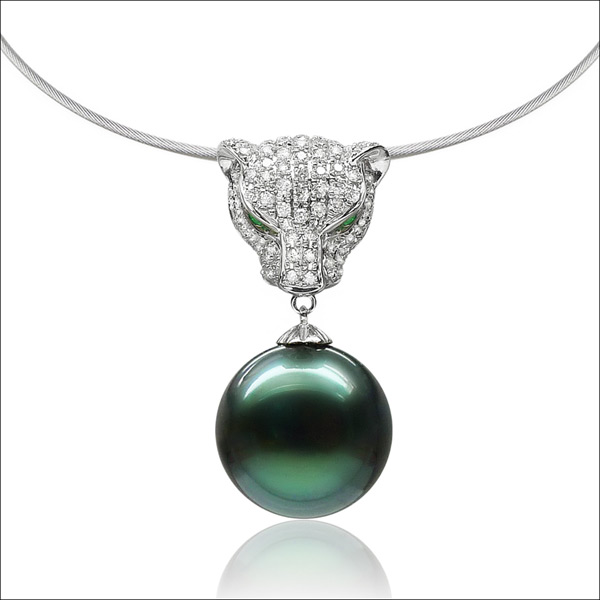 Qin think [cheetahcheetahs] tahitian black pearl pendant 14.2mm domineering luxury k gold necklace gift