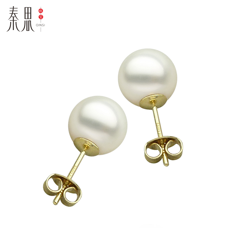 Qin think classic white south sea pearl earrings pearl earrings jewelry sea pearl earrings pearl earrings 9.5-10MM18K kim round