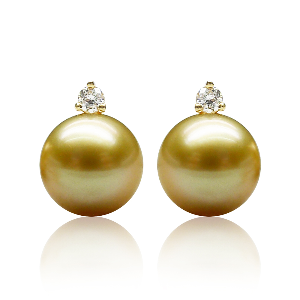 Qin think [simple beauty] golden south sea seawater pearl earrings pearl earrings k gold diamond