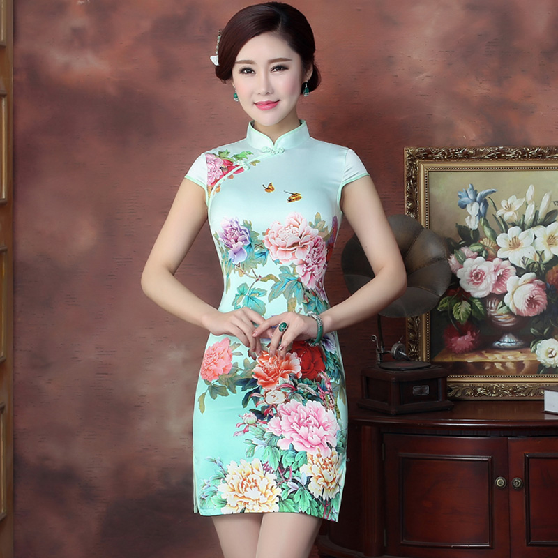 Qing yan kai 2016 new summer dress cheongsam dress short paragraph chinese daily slim was thin toast clothing autumn and winter