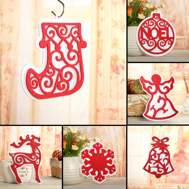 Qixuan christmas door hanging christmas decorations christmas tree ornaments snowflake deer wovens bell pendant