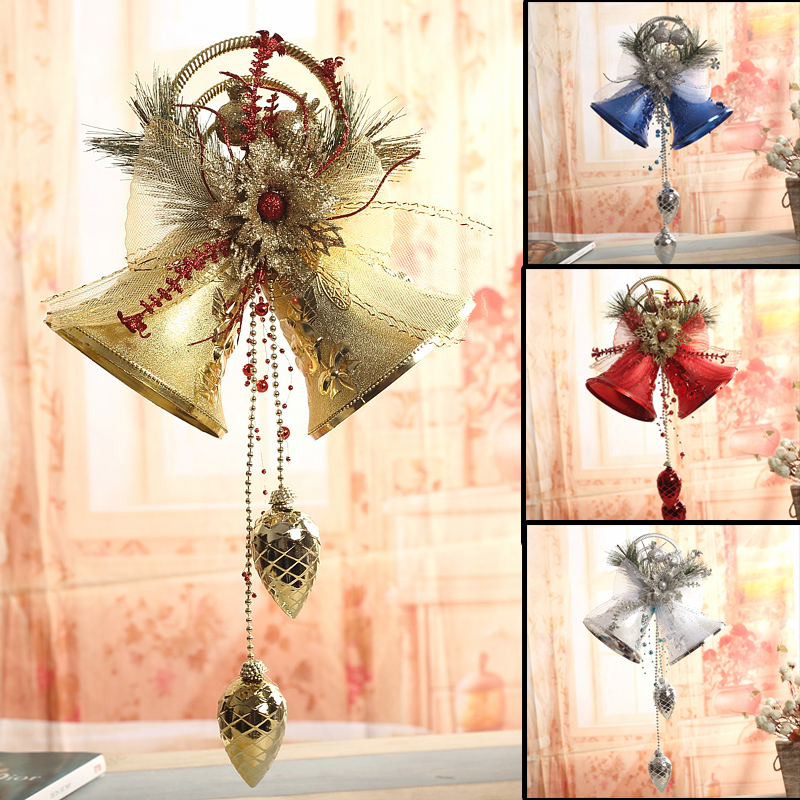 Qixuan christmas tree decoration christmas bells hanging christmas decorations 42cm four models