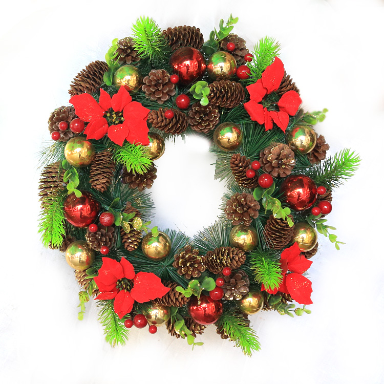Qixuan christmas wreath christmas decorations christmas window decoration christmas pinecone wreath safflower 40 cm