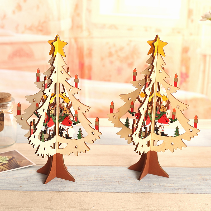 Qixuan creative wooden christmas tree hollow three-dimensional wooden christmas tree christmas tree christmas decorations