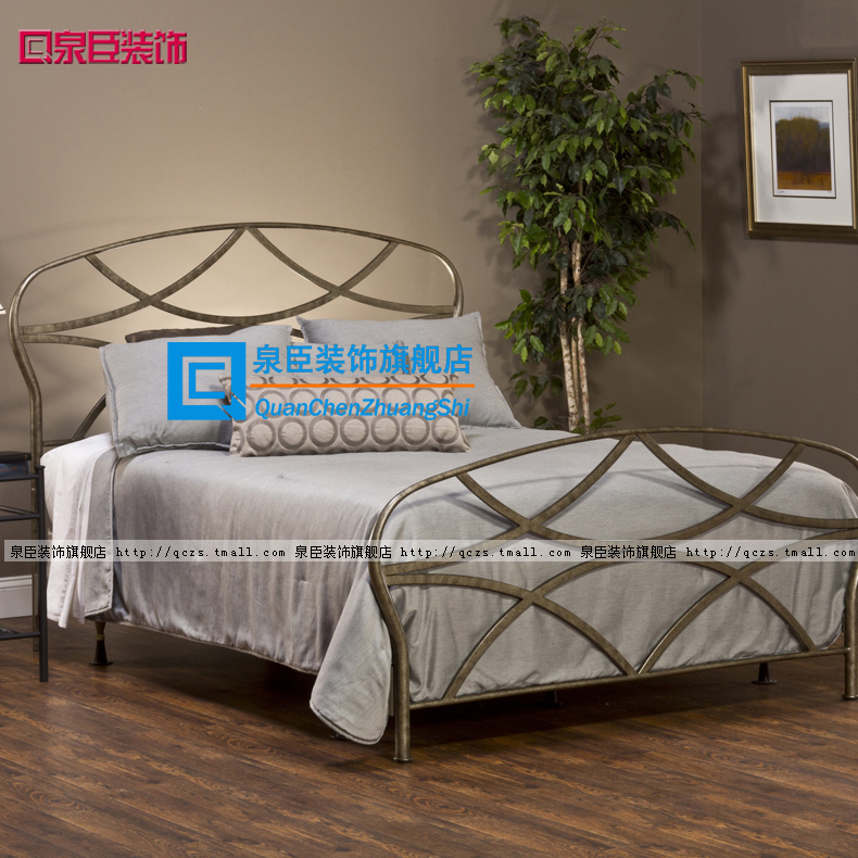 Quan chen upscale classical european decorative wrought iron bed wrought iron double bed princess bed iron beds iron bedstead