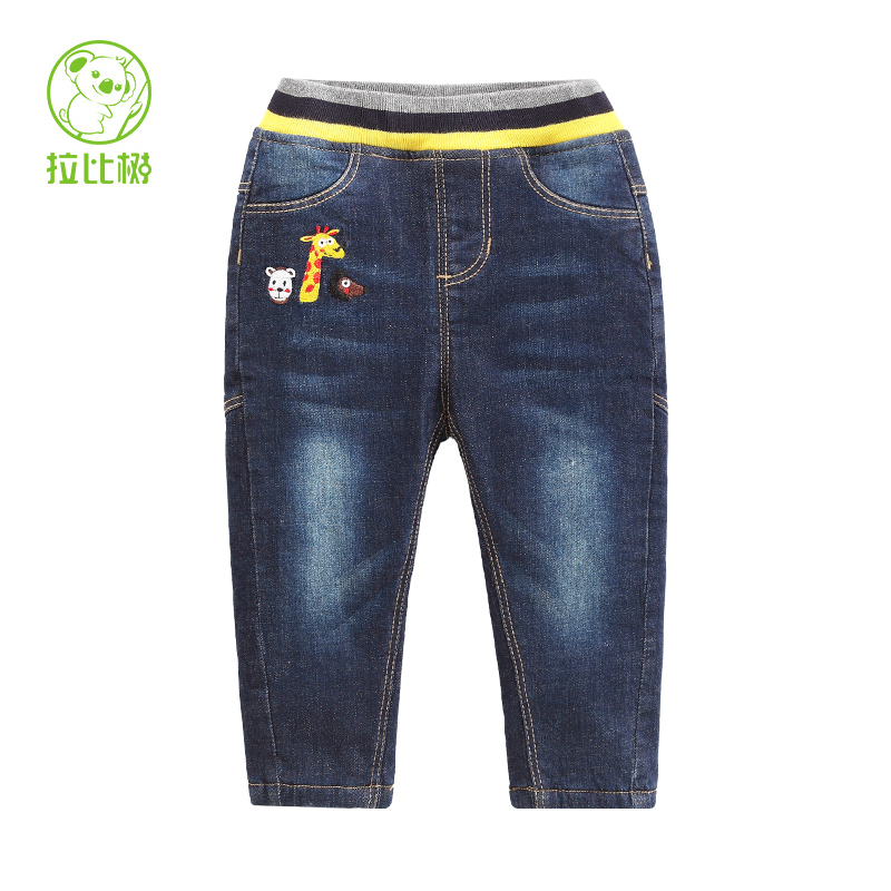 Rabbi tree kids 2016 new autumn and winter male baby cartoon embroidered velvet jeans pants for boys and girls bottoms