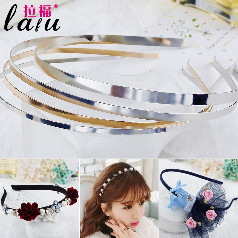 Raffo basis bottoming korean hair accessories handmade diy material gold and silver color thin edge stainless steel hoop headband hair accessories