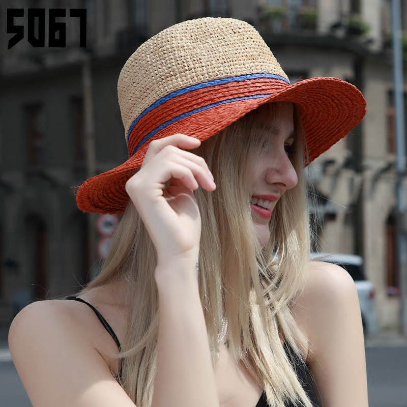 Rafi straw hat female summer korean version of the spring and summer jazz hat hat male ms. european and american leisure wild outing