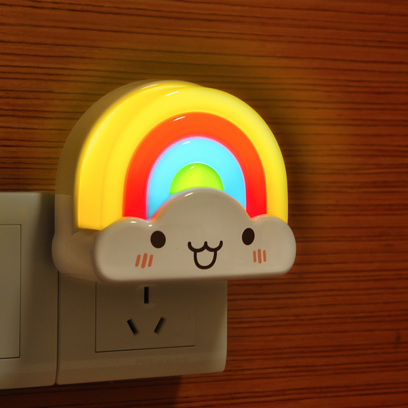Rainbow creative sound and light control energy saving led night light plug switch your baby bedside lamp bedroom children's room