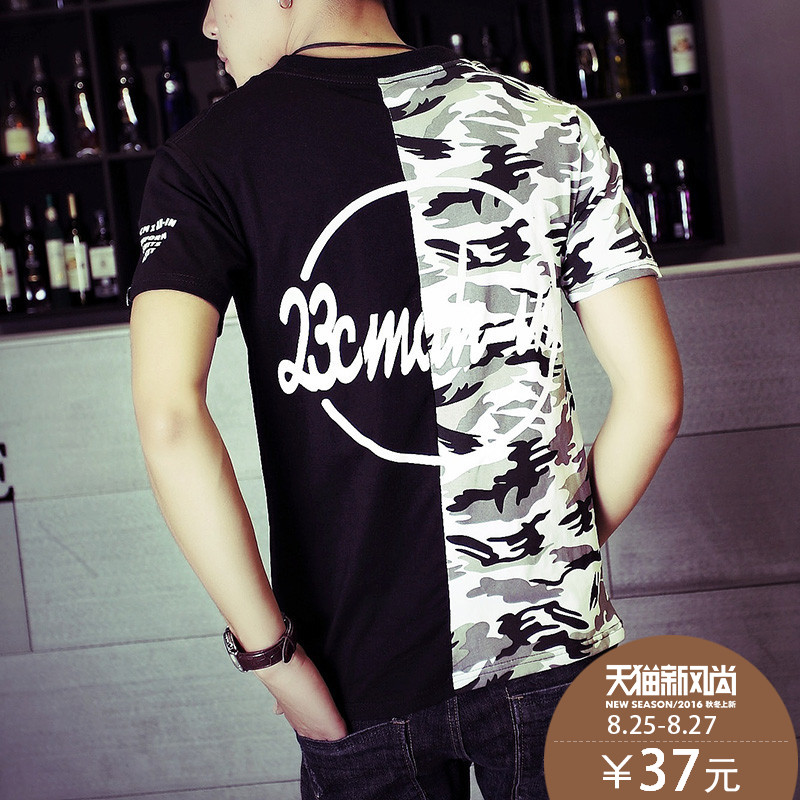 Rampo/rampo camouflage short sleeve t-shirt lovers men and women loose hip-hop trend of outdoor sports clothing summer