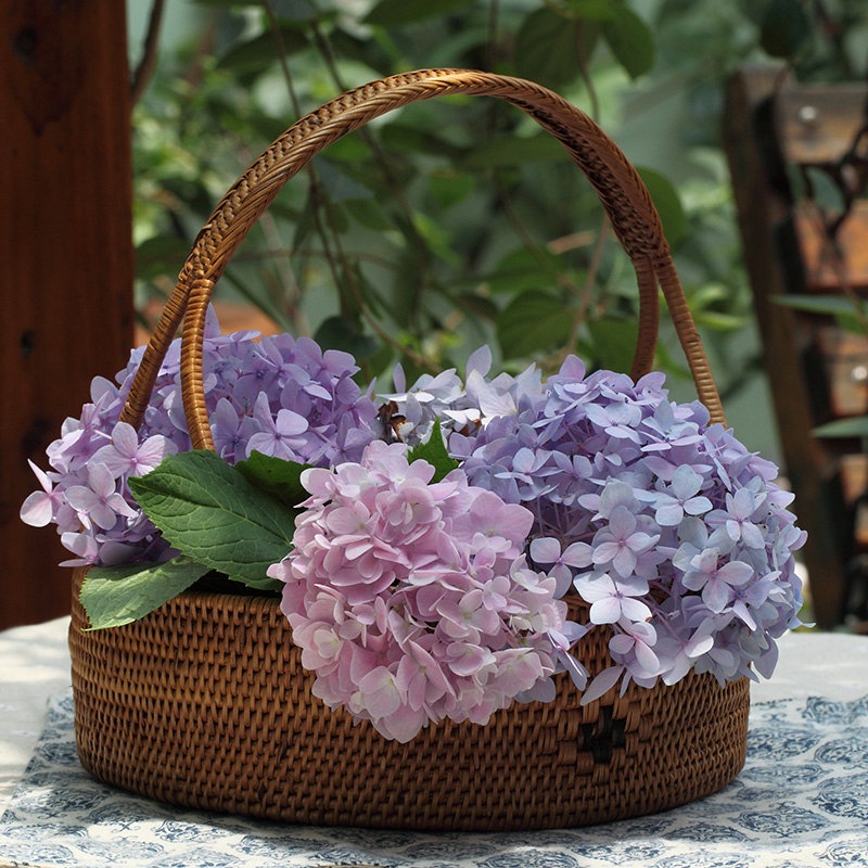 Rattan baskets rattan basket storage basket portable basket basket fruit basket pastoral storage basket rattan storage basket cradle