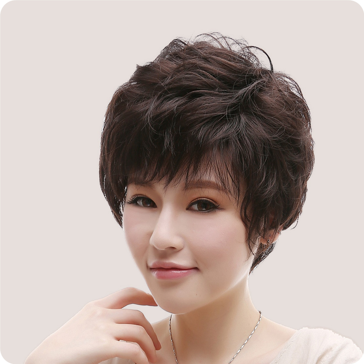 Real hair wig middle-aged woman with short hair curly hair wig middle-aged mother wig wig lady mom gifted odd wig