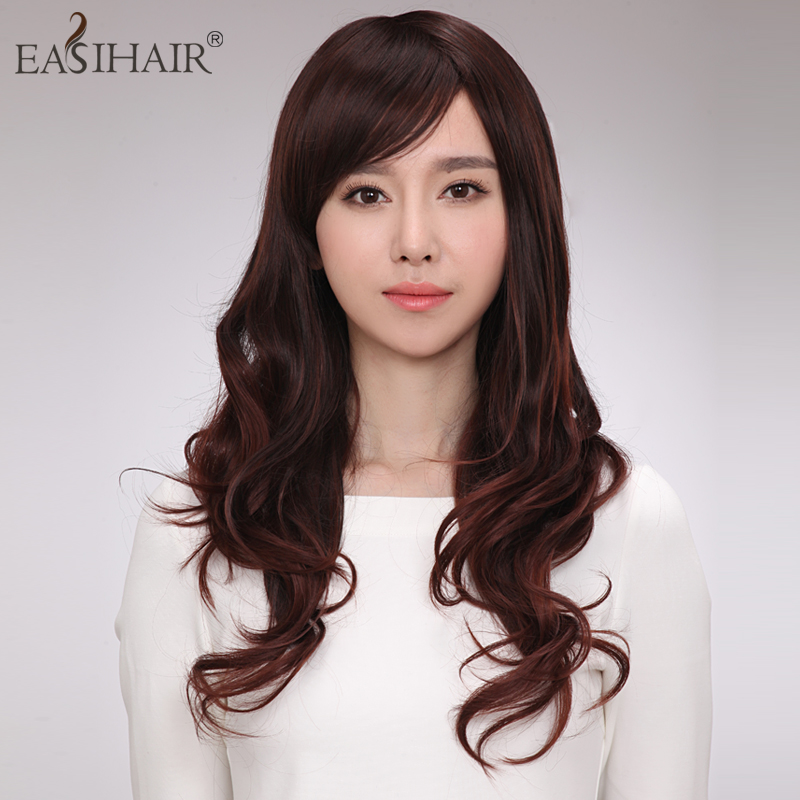 Real hair wig short hair female easihair hand woven hair wig female big wave of long curly hair oblique bangs and long curly hair