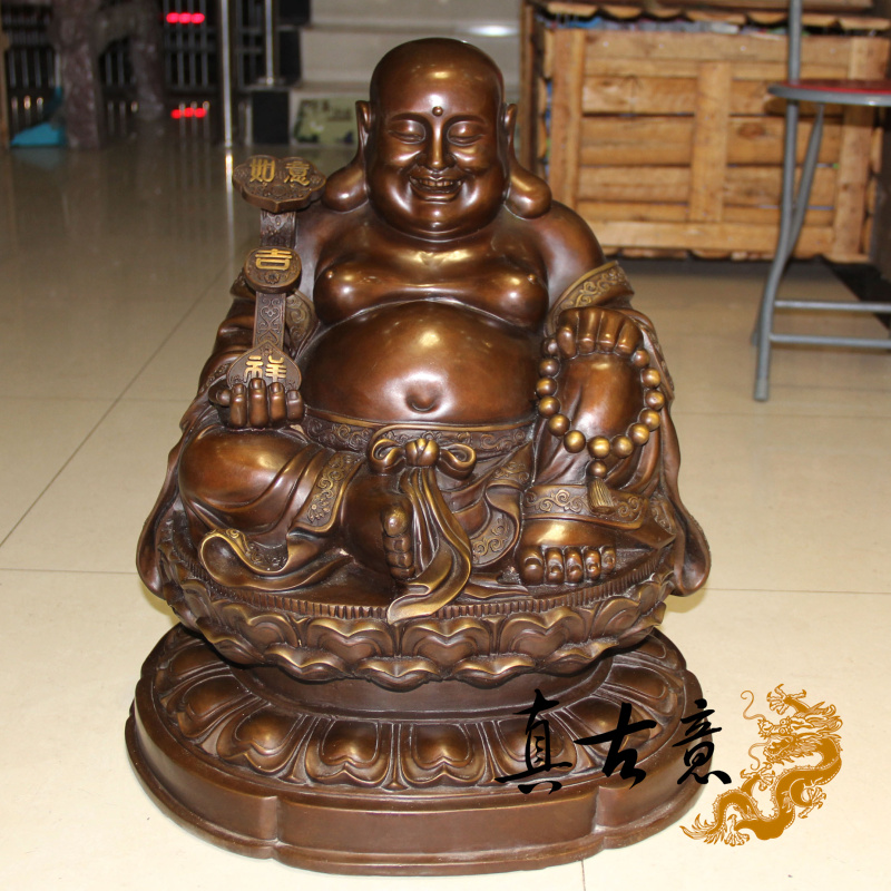 Really ancient italian furnishings care ingot laughing buddha maitreya buddha ornaments large opening of pure copper buddha statues crafts