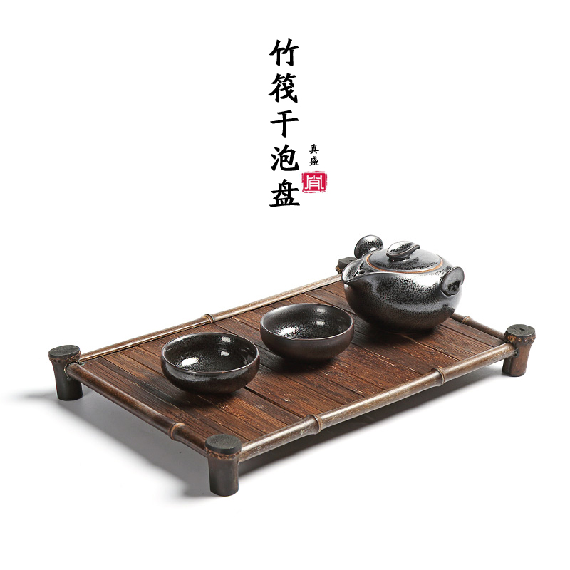 Really filled with black bamboo bamboo rafts bamboo tea tray cup holder tea japanese tea tray dry foam tray rectangular