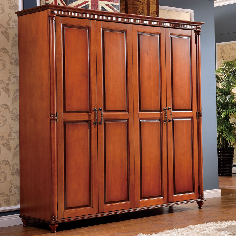 Reca round american combination of all solid wood wardrobe whole wardrobe closet four bedroom wardrobe european solid wood furniture