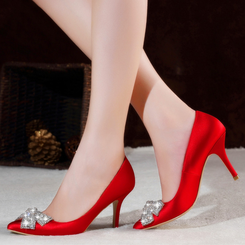 Red bridal shoes diamond bow shoes dress shoes wedding shoes shoes spring and autumn new mother dress shoes high heels shoes women