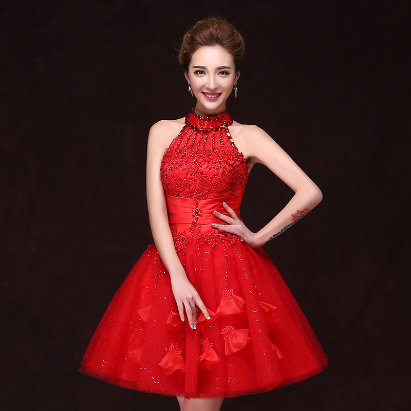 Red bride toast clothing 2016 new bride wedding toast wedding dress upscale banquet toast dress costumes