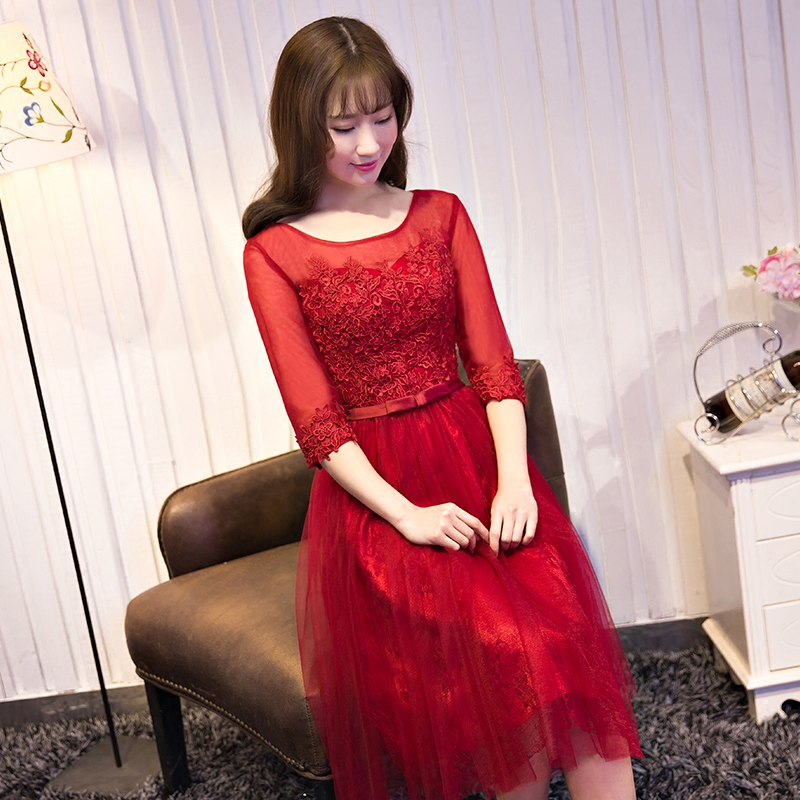 Red bride toast clothing summer 2016 new slim sleeve dress jumpsuit skirt dress banquet evening dress long section of spring