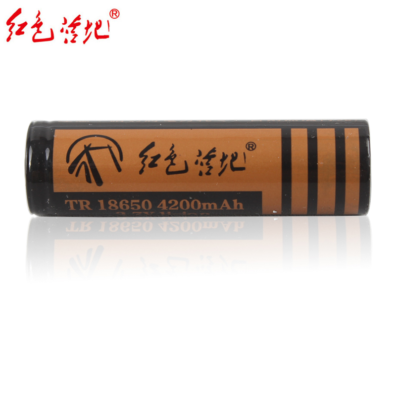 Red camp flashlight original 18650 lithium ion battery high capacity rechargeable battery 4200ma