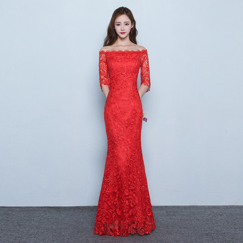 Red chinese wedding dress the bride toast cheongsam dress short paragraph slim was thin word shoulder fishtail long section of the summer
