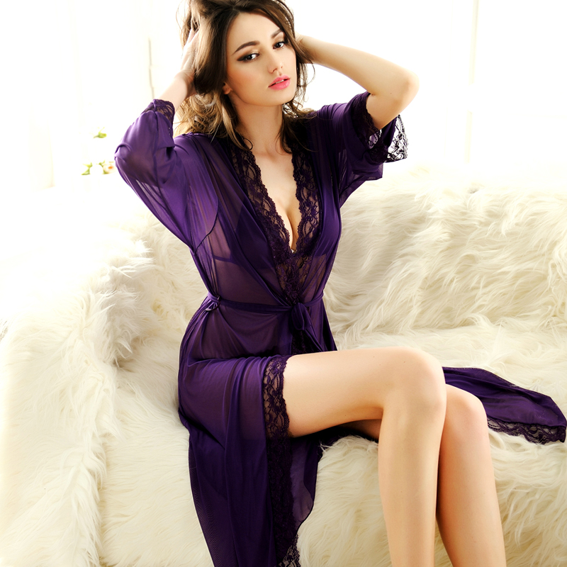 973667b059e2 Get Quotations · Red core extremely sexy sleepwear nightgown female summer  temptation thin transparent gauze sexy lingerie robe bathrobe