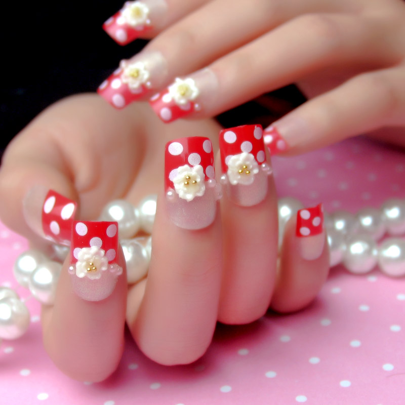Red dot a french false nails patch a piece bridal nail glitter nail patch finished