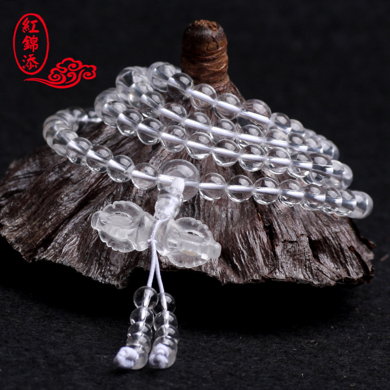 Red jintian natural crystal white crystal bracelet 108 prayer beads rosary bracelets men bracelets vajra adder
