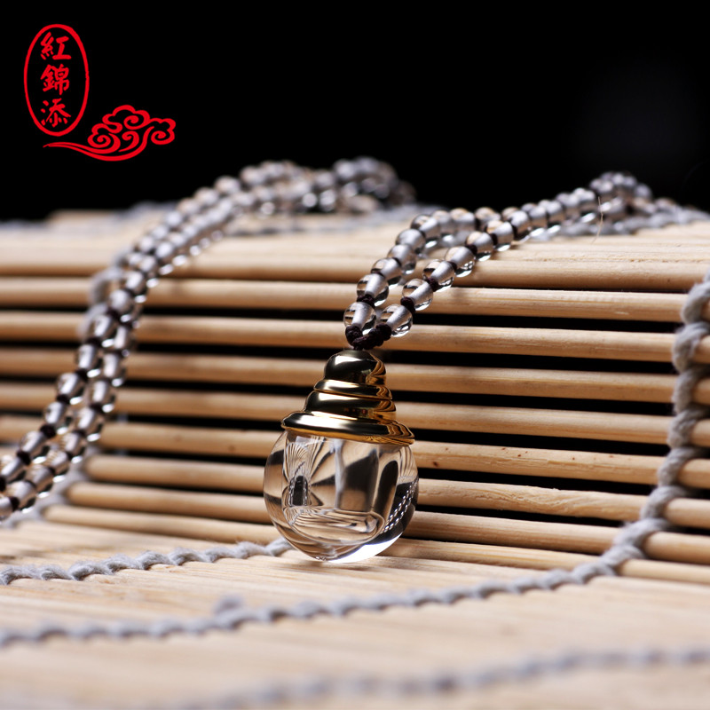Red jintian natural white crystal mantra stupa pendants nb_4o energy stone lee homes bottle for men and women couple Necklace