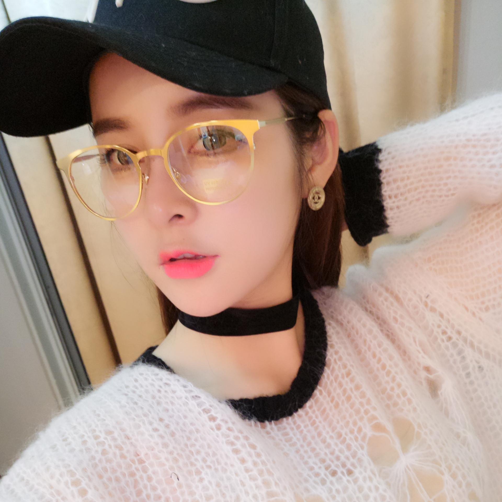 275e1b7e34c Get Quotations · Red mesh with the money female metal full frame plain  glass spectacles frame glasses for men